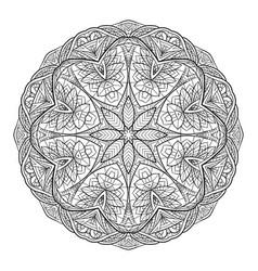 black white doodle circular mandala with a boho vector image vector image