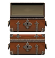 empty old pirate forged chest vector image