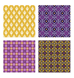ethnic colored seamless patterns vector image vector image