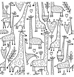 funny giraffes sketch seamless pattern your vector image