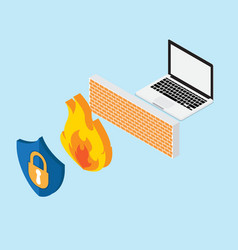 network security concept with firewall vector image