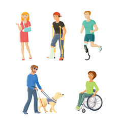 people with injures traumas and disabilities vector image
