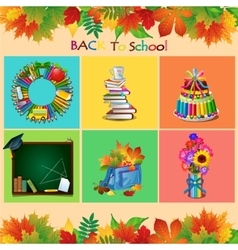 Set of school objects on a different backgrounds vector image