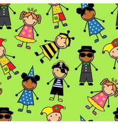 Cartoon seamless pattern with children in differen vector image