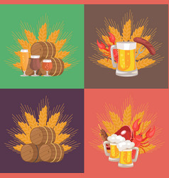 four sets of beer composition vector image vector image