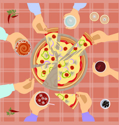 Pizza top view vector