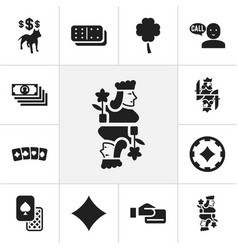Set of 12 editable casino icons includes symbols vector