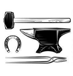 set of blacksmith craft anvil hammer vector image vector image