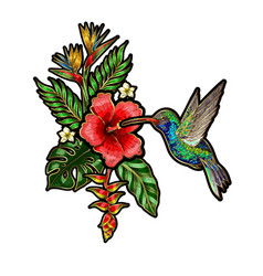 tropical birds embroidery patches with flowers vector image vector image