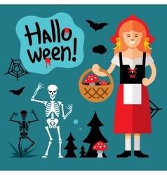 Halloween little red riding hood cartoon vector