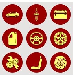 Set of icons auto parts Flat design vector image