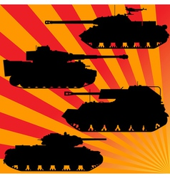 silhouettes of military equipment vector image vector image