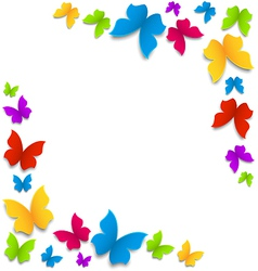 Spring background with painted butterflies border vector image