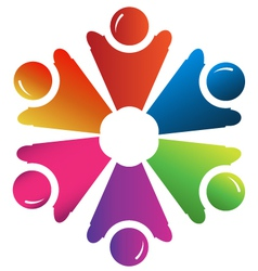 Teamwork people hands up group vector image