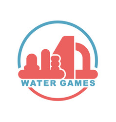 water games logo emblem for inflatable park vector image vector image