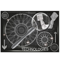 white wheel and two pistons vector image vector image