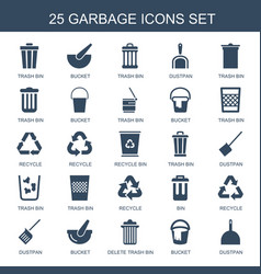 25 garbage icons vector image