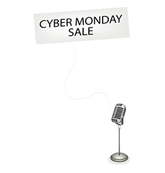 A Retro Microphone Broadcasting Cyber Monday Sale vector image