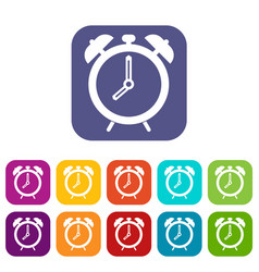 Alarm clock icons set flat vector