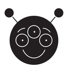 alien emoji black concept icon alien emoji vector image