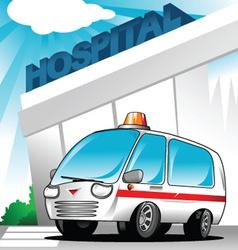Ambulance at hospital vector