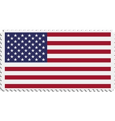 American flag on postage stamp vector image