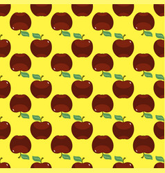 apple red yellow seamless pattern background vector image