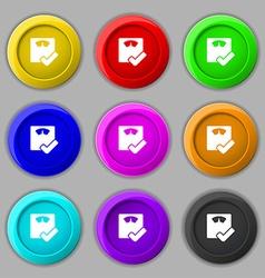Bathroom scales icon sign symbol on nine round vector