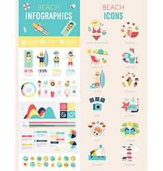 Beach Infographic set vector image