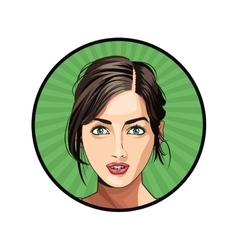 Beauty girl face lipstick hair tied sticker green vector