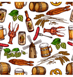 Beer pub snacks and drinks seamless pattern vector