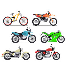 bike and motorbike flat set vector image