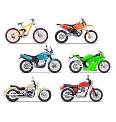 Bike and motorbike flat set vector