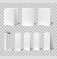 Blank white boxes rectangular medicine and vector