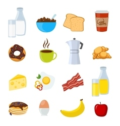 Breakfast Flat And Isolated Icons Set vector image