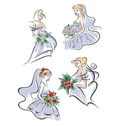 Bride in gown holding flowers vector image