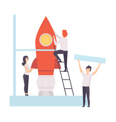 business team constructing space rocket start up vector image