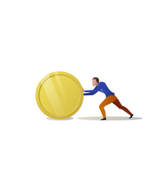 businessman pushing money coin growth wealth vector image