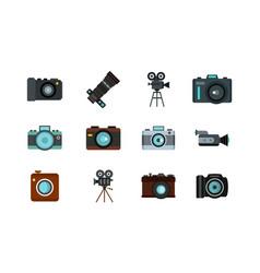 camera icon set flat style vector image
