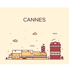 Cannes skyline trendy linear vector