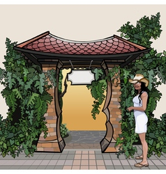 cartoon entrance with a roof with a signboard vector image