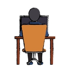 Cartoon guy back working laptop chair desk vector