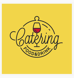 Catering food and drinks logo wine glass vector