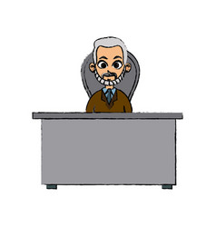 character doctor man desk chair working vector image