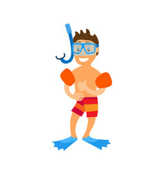 Child in swimming equipments standing boy vector