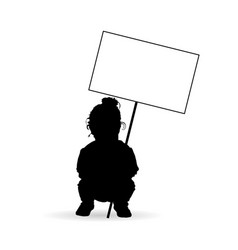 child silhouette with transparent in black vector image