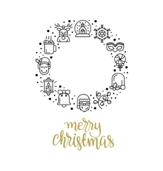 Christmas background with flat icons vector image