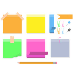 collection different colored sticky notes vector image