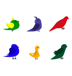 Collection of cartoon birds vector image