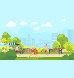 colorful park with people training vector image